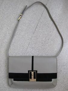 Borsa-SANTONI-100-Pelle-Beige-Grigio-Avorio-Leather-Bag-Purse-Ivory-Grey