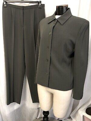 Jones New York Women's Pant Suit Gray Polyester Blend 4 Button 1 Pocket Size 12
