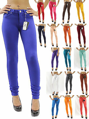 New Skinny Womens Ladies Jeans Stretchy Jeggings Fit Coloured Trousers Size 8 26