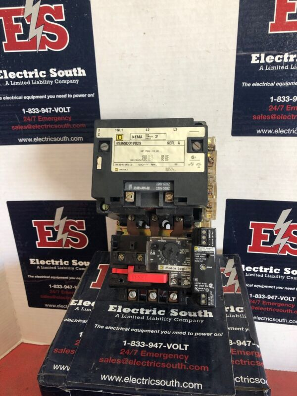Square D Motor Starter 8536SD01V02S Size 2 120 Volt Coil W/ Motor Logic Overload