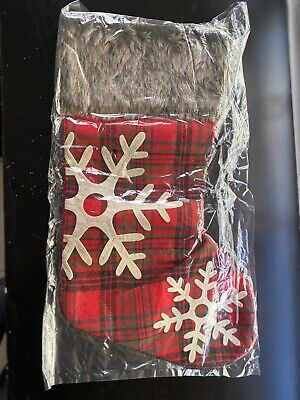 Classic Holiday Stockings with Fur- Red and brown (1 Pair)