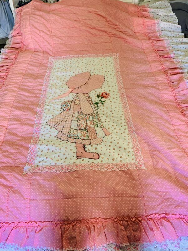 Vintage Holly Hobbie Bedspread Bedding Large Excellent