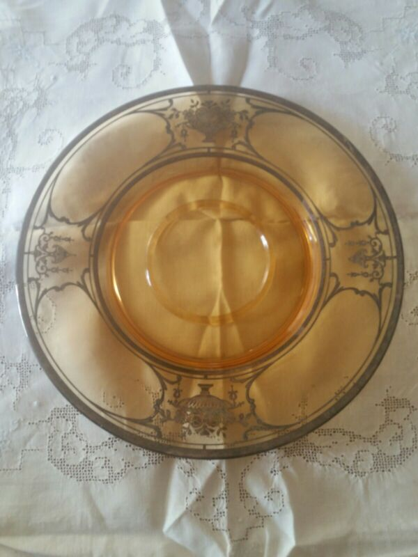 """Sterling overlay Serving Plate 11 1/2"""""""" Etched Amber Depression Glass"""