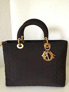 Original Lady DIOR Tasche Handtasche Gold Braun Textil Large Vintage Bag Brown