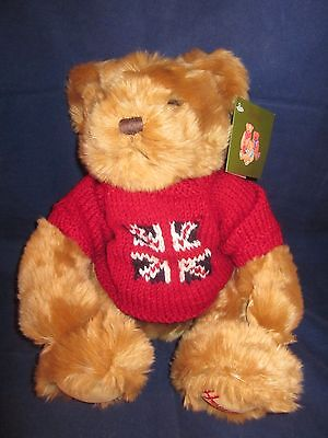"HARRODS Bear 14"" Tan Brown Bear wearing Red British Flag Sweater ~ NEW with Tags"