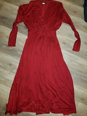 Maxi dress burgundy red Rhonda Harness size 10  long bat wing sleeves ()