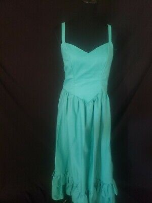 Vintage 70s 80s Spaghetti strap teal Maxi Dress and Bolero XL southern belle - 70s And 80s Clothes