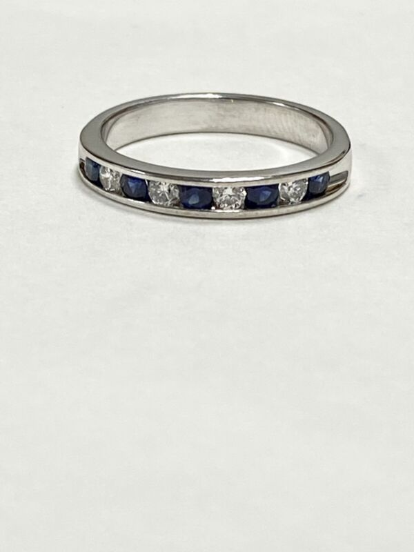 1/2 Ctw Natural Diamond & Blue Sapphire Channel Set Band Ring 14k White Gold