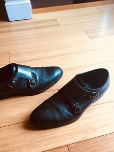 MONKSTRAP SHOES MENS 8.5 BLACK LEATHER GEOX DRESS
