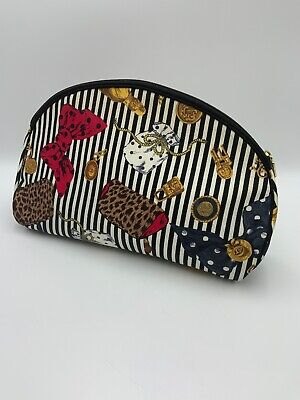 Vintage Large Christian Dior Cosmetic Makeup Bag Zipper Pouch Stripes USA