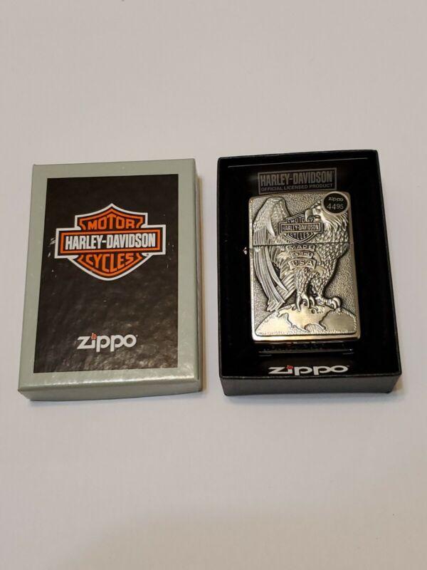 Zippo Harley Davidson & Eagle Chrome Lighter With Emblem New In Box