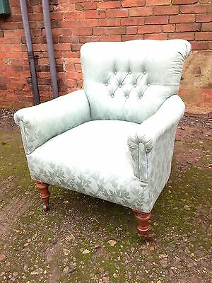 Antique Victorian Button Back Scroll Back Upholstered Armchair