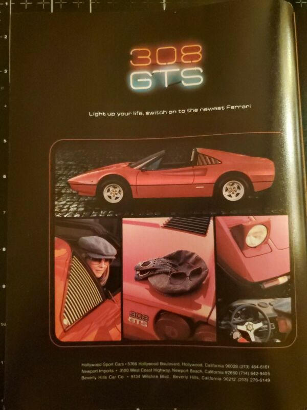 1979 Rare FERRARI 308 GTS 2 pg ad Rick McBride