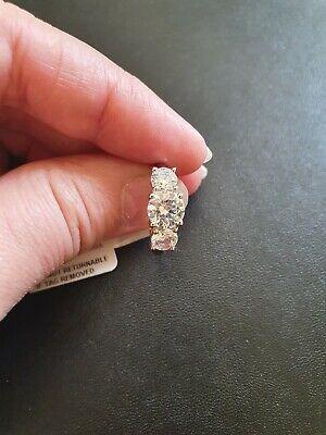 Svarowski J Francis Designer 925 Sterling Silver Trilogy Ring Size M Not Scrap