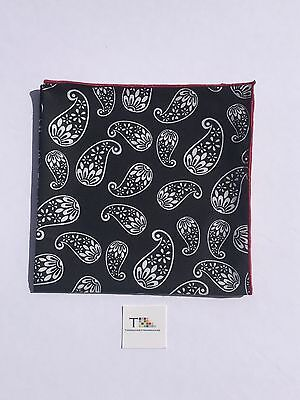 Black Large Paisley Pocket Square with Red Trim