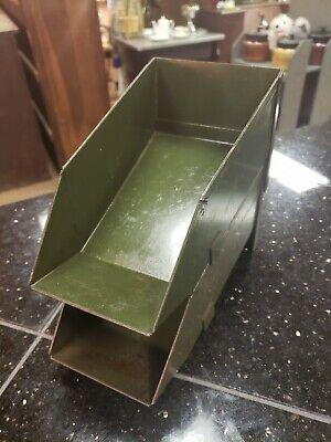 2 Vintage Quality Mid Century Industrial Metal Storage Bins Cabinet