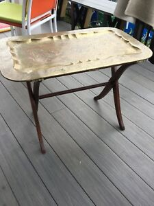 Metal top tray table with with folding wood base
