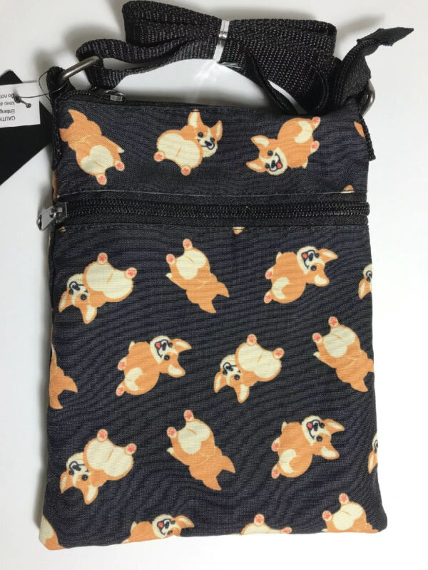 New! Corgi Butt Bottom Dog Black Passport Crossbody Bag