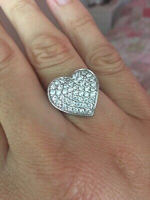 Pave Sterling Silver Heart Ring Size N