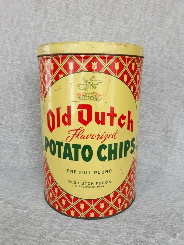 Vintage Old Dutch Flavorized Potato Chips Minneapolis Minnesota 1950s Tin