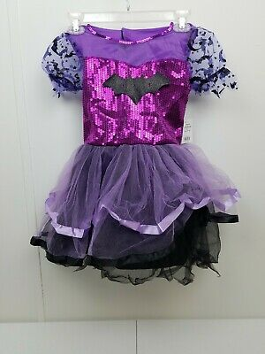 B Girl Halloween Costume (Girl's Halloween Costume Purple Bat Dress With Wings Size M (8-10))