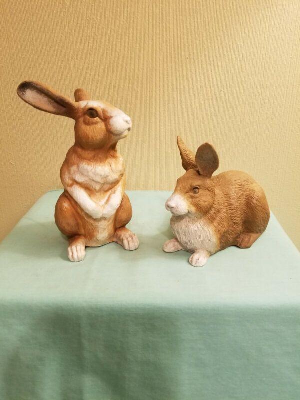 Signed Universal Statuary Corp. Long Ear Bunnies, Sitting, Lying Down (2) GUC