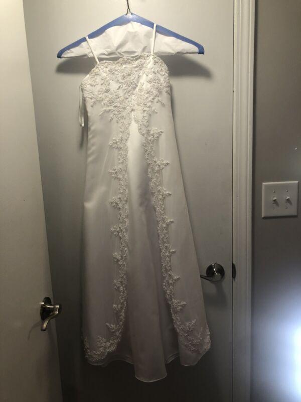 Davids Bridal Flower Girl Dress Size 7 White