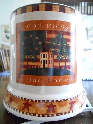"""Country Life? Electric Candle Warmer 7"""" Stoneware Warren Kimble White Red Blue !"""