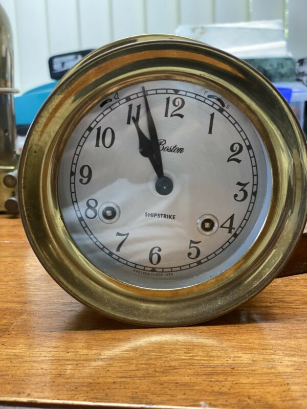 """Vintage Chelsea Boston Shipstrike Clock Bell 6"""" With Key"""