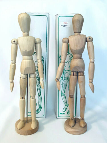 "Set of 2 Male Jointed 12"" POSEABLE WOODEN MANNEQUIN for Artist Sketch Model"