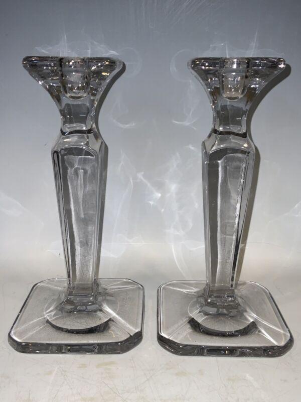 Antique Crystal Candlesticks Polished Pontil