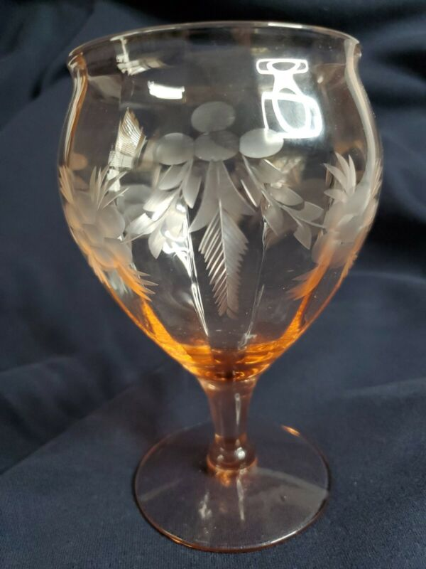 Rare Pink Depression Era Etched Pink Pink Footed Stem Glass Water Sherry Goblet