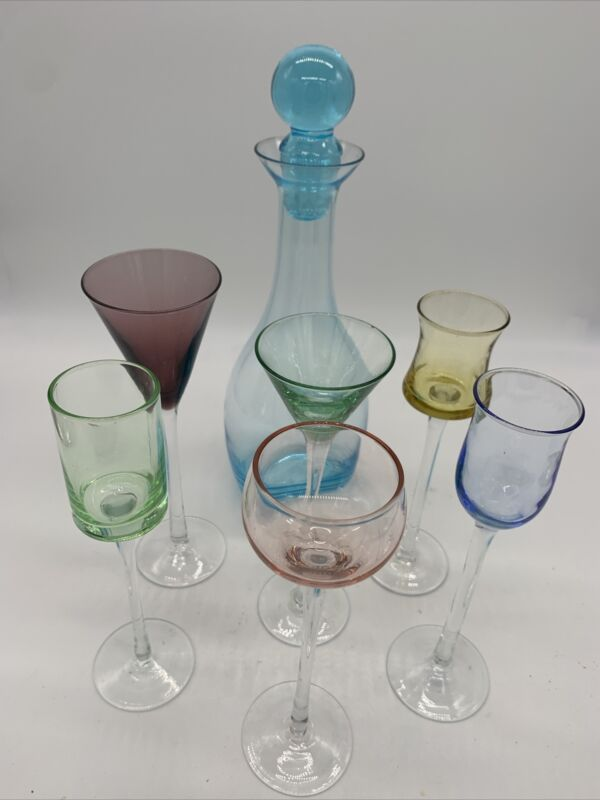 Liquer-cordial glass set w decanter and 6 glasses