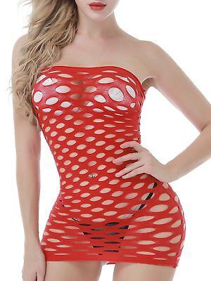 FasiCat Women's Strapless Chemise Babydoll Fishnet Lingerie Mini-dress One Size