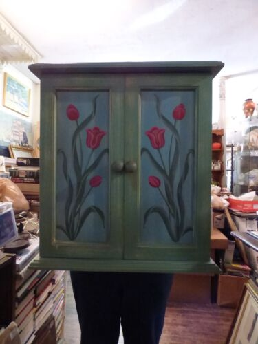 "16"" Pink Tulips on Spring Green Wall or Tabletop Cabinet Hand Painted Distressed"