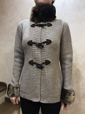 Doriani Cashmere Sweater Cardigan Knit Couture By Doriani NWOT Luxury Fur 40 M/L