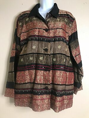 Chicos Women Size 1 Metallic Paisley Striped Long Sleeve Button Up Jacket