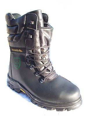 TRUCKER BLACK FOREST CLASS 2 LEATHER SIZE 9 SAFETY CHAINSAW BOOTS VIBRAM SOLES