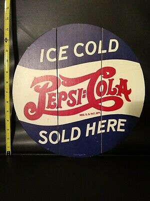 Repro Retro Ice Cold Pepsi Cola Wood Distressed Kitchen Garage Man Cave Sign