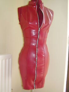 THE-FEDERATION-RUBBER-LATEX-DRESS-SALE-SIZE-12-RED