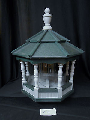Poly Bird Feeder Amish Gazebo Handcrafted Homemade Gray & Green Roof Md
