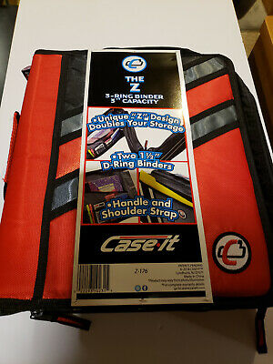 Nwt Case-it The Z 2-in-1 Zipper 3-ring Binder 3 Capacity Red Z-176