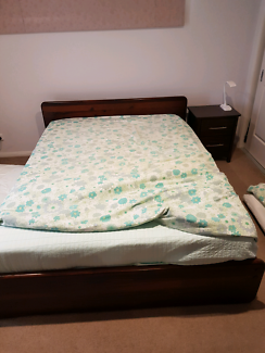 Dark timber Queen bed with side tables (mattress included)