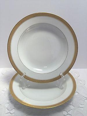 Haviland & Co Limoges White Gold Rimmed Soup Bowls Set of Two 2 Vintage France
