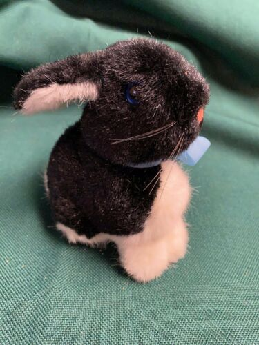 "Steiff Easter Bunny Small Rabbit Black White 6"" Stuffed Animal"
