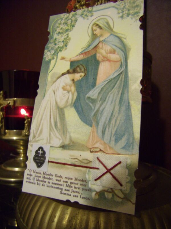 St. Gemma Galgani of Lucca with the Blessed Virgin Mary & Relic Reliquary Card