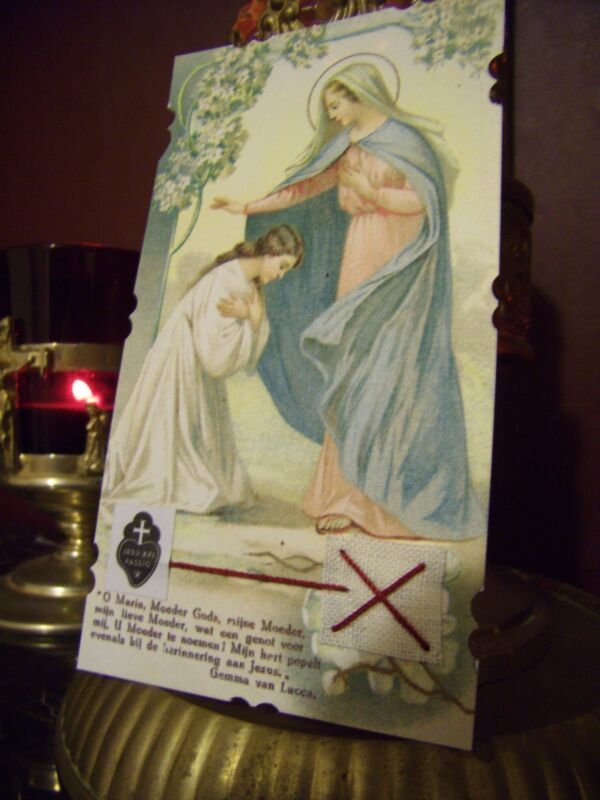 St. Gemma Galgani with the Blessed Virgin Mary & Relic Card.