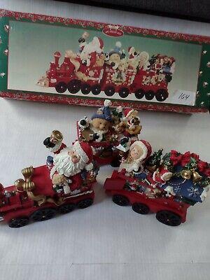 3 Piece Train Set Christmas Santa Teddy Bear Stockings Decoration Decor Red