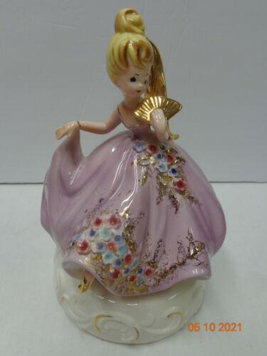 Josef Originals Bridal Party Girl Lavender Dress Music Box