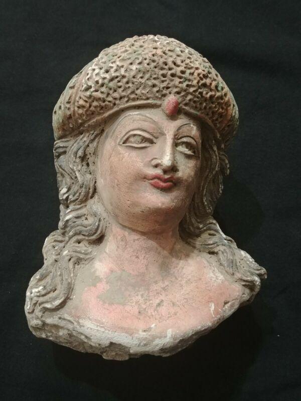 CIRCA 200- 300 AD RARE GANDHARA STUCCO STATUE FRAGMENT HEAD OF BUDDHA